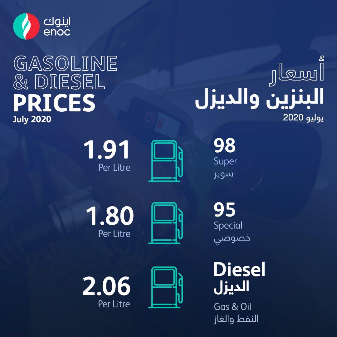 ثبات أسعار البنزين والديزل في الإمارات خلال يوليو ...