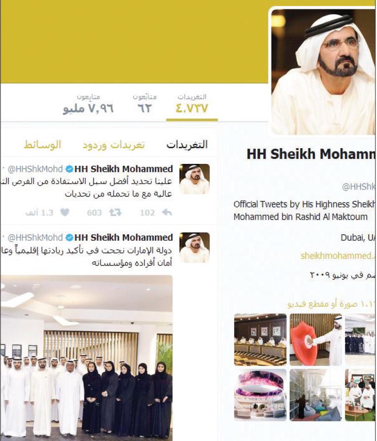 محمد بن راشد أكثر القادة العرب متابعة على تويتر البيان